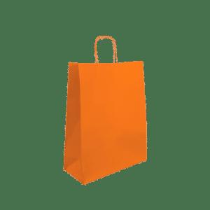 Bolsa de papel asa trenzada naranja