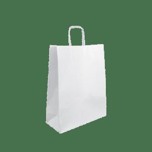 Bolsa de papel asa trenzada Blanca