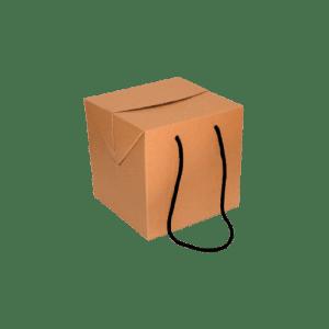 caja de cartón cubo con asa de cordón