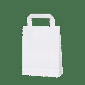 bolsa de papel blanca con asa plana