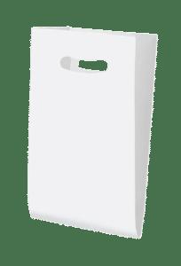 Bolsa de celulosa con asa troquelada blanca