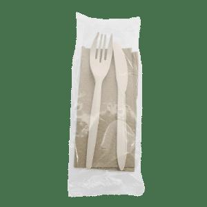 Set de cubiertos + servilleta de fibra de maíz